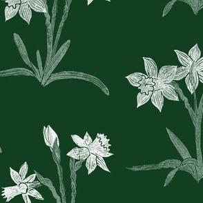 chalk white daffodils on chalkboard green
