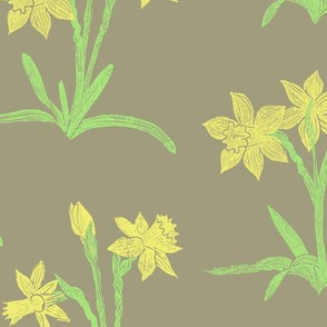 yellow daffodils on taupe
