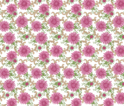 Pink Floral with Ornaments fabric by maritcooper on Spoonflower - custom fabric