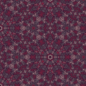 Purple and Red Doodle Kaleidescope Pattern