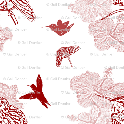 hummer in the red toile