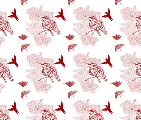 hummer in the red toile fabric by gaildentler on Spoonflower - custom fabric