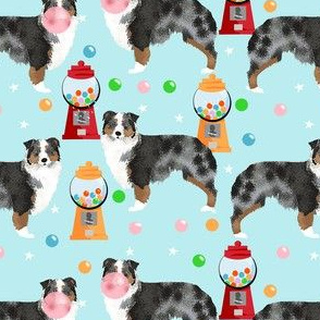australian shepherd bubble gum fabric - cute dogs and candy design