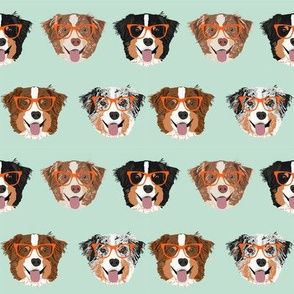 australian shepherds glasses fabric - cute dogs and glasses design - mint