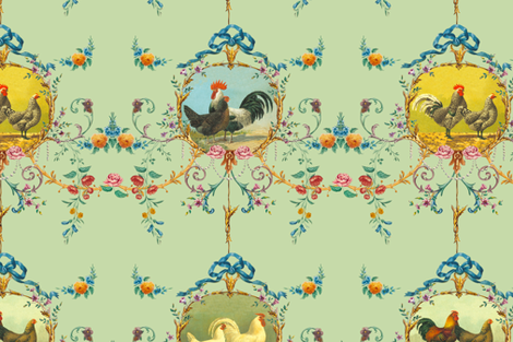 Le Toile de Poulet basil fabric by lilyoake on Spoonflower - custom fabric