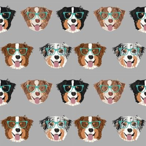 australian shepherds glasses fabric - cute dogs and glasses design - grey