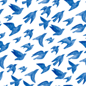 Flying birds in blue
