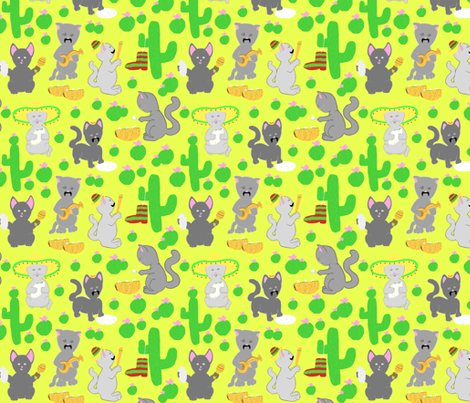 Cat fiesta fabric by everhigh on Spoonflower - custom fabric