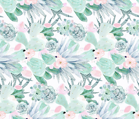 pastel cactus floral_White-rotate fabric by crystal_walen on Spoonflower - custom fabric