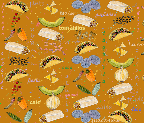 tic tac taco fiesta fabric by florodoro on Spoonflower - custom fabric