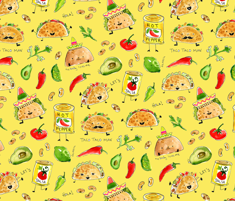 Taco Party! fabric by chickadeedeedee on Spoonflower - custom fabric