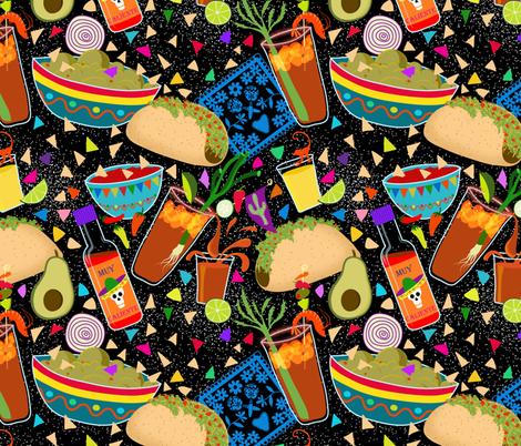 Muy Caliente Tacos and Michaladas  fabric by vo_aka_virginiao on Spoonflower - custom fabric