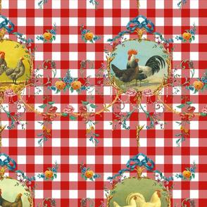 Le Toile de Poulet strawberry gingham
