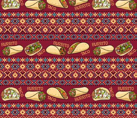 Taco and burrito. Mexican folk ornaments.  fabric by irina_skaska on Spoonflower - custom fabric