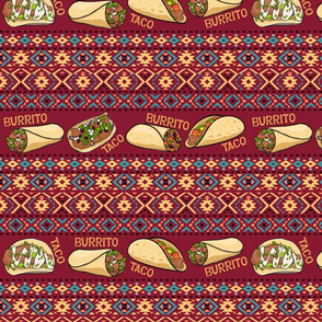 Taco and burrito. Mexican folk ornaments.