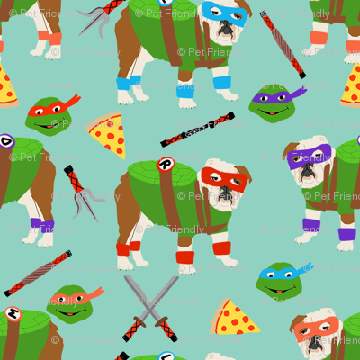 english bulldog mutant turtles - dog dogs, pet, cartoon, cosplay, comic, halloween dogs