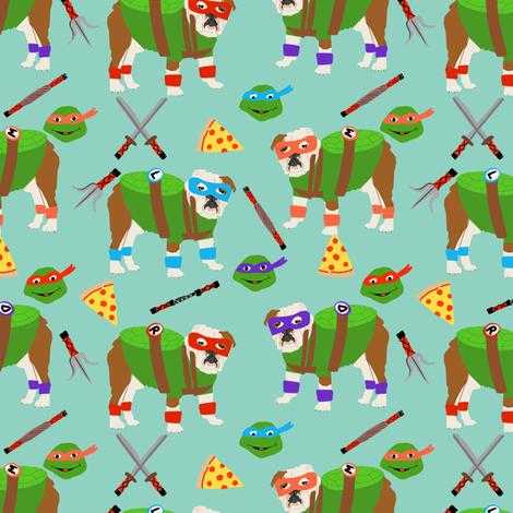 english bulldog mutant turtles - dog dogs, pet, cartoon, cosplay, comic, halloween dogs fabric by petfriendly on Spoonflower - custom fabric