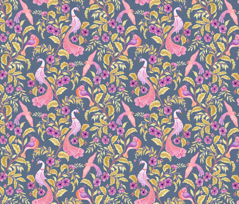 Fancy Feathered Friends - Smaller Scale fabric by byre_wilde on Spoonflower - custom fabric