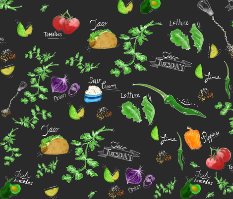 Taco Tuesday fabric by little_lizzie_design on Spoonflower - custom fabric