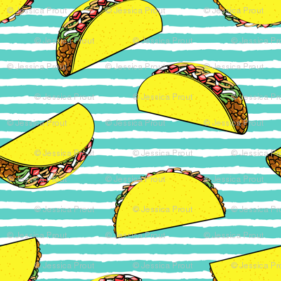 (large scale) tacos on teal stripes