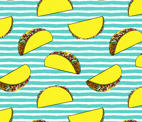 (large scale) tacos on teal stripes fabric by littlearrowdesign on Spoonflower - custom fabric