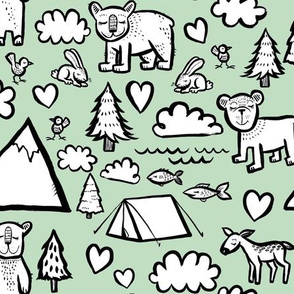 Let's Go Camping - Green Background