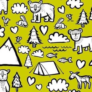 Let's Go Camping - Yellow Background