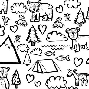 Let's Go Camping - Black and White