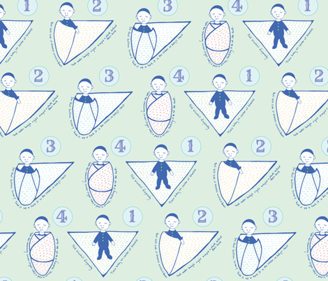 Baby Burrito, Swaddle Instructions on Sage fabric by katie_hayes on Spoonflower - custom fabric