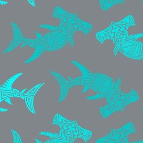 Large Multi Aqua Hammerhead on Grey