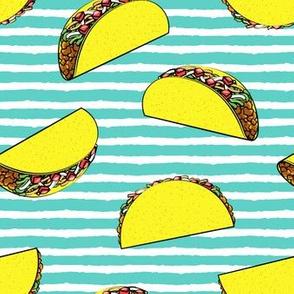 tacos on teal stripes
