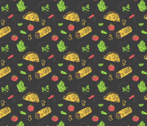 Taco and Burrito Chalkboard Menu fabric by peartreetrail on Spoonflower - custom fabric