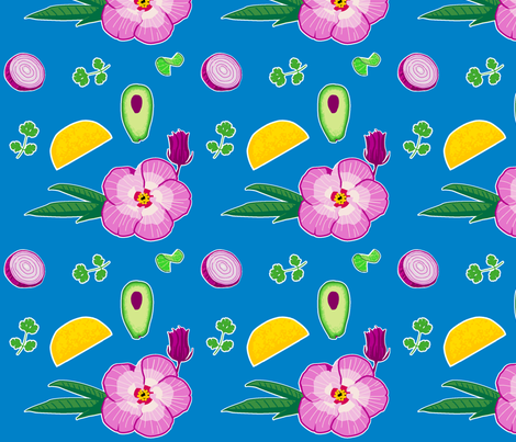 Hibiscus Taco Oilcloth fabric by learning on Spoonflower - custom fabric