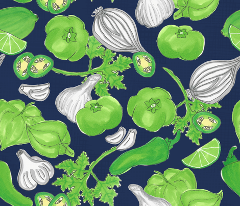salsa verde - blue background fabric by gentlysmilingjaws on Spoonflower - custom fabric