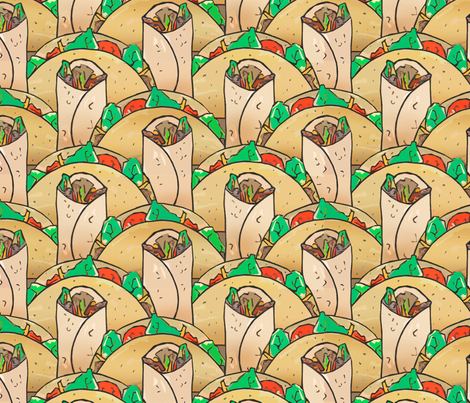 Tacos and burritos display fabric by lucybaribeau on Spoonflower - custom fabric