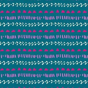 Geometric and textured stripe on teal
