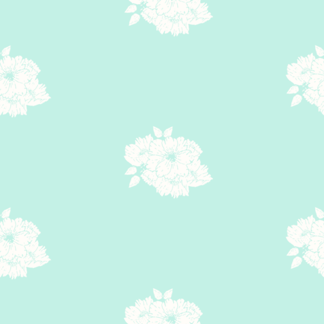 white bouquet on teal
