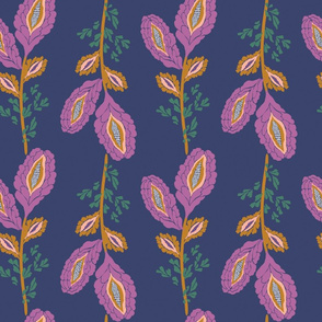 Contemporary floral stripe on navy