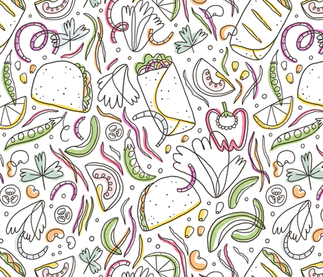 Taco and burrito pattern fabric by stolenpencil on Spoonflower - custom fabric