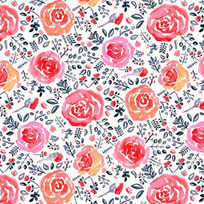Magenta, Red & Navy Watercolor Roses - Small