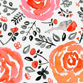 Orange, Red & Grey Watercolor Roses - Big