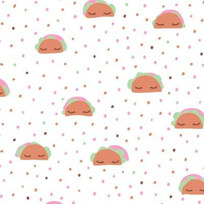 Sweet taco kawaii food illustration Japanese style pattern white soft mint pastels