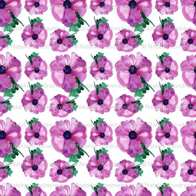 Watercolor anemone flower design