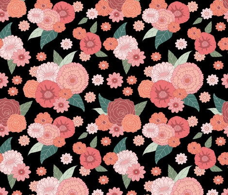 floral on black (small) fabric by glitterstreet on Spoonflower - custom fabric