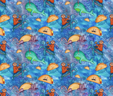 Taco Cats And Sloths fabric by #artbykarridi on Spoonflower - custom fabric