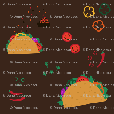 Tacos and ingredients on dark background