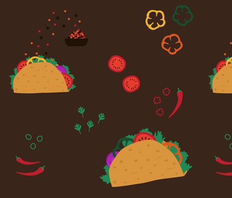 Tacos and ingredients on dark background fabric by danadu on Spoonflower - custom fabric