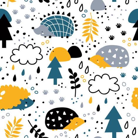 hedgehog fabric by yuliia_studzinska on Spoonflower - custom fabric