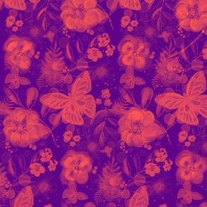 Butterflies among flowers