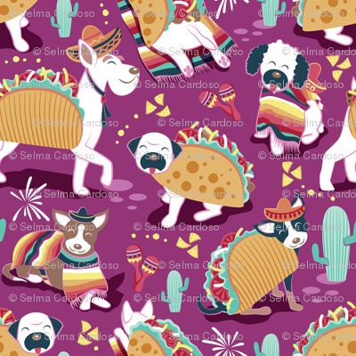 Mexican tacos dogs team // small scale // dark pink